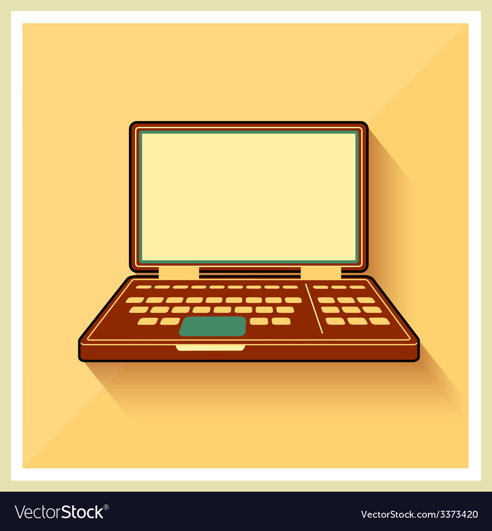 Laptop notebook personal computer flat icon vector | Price: 1 Credit (USD $1)