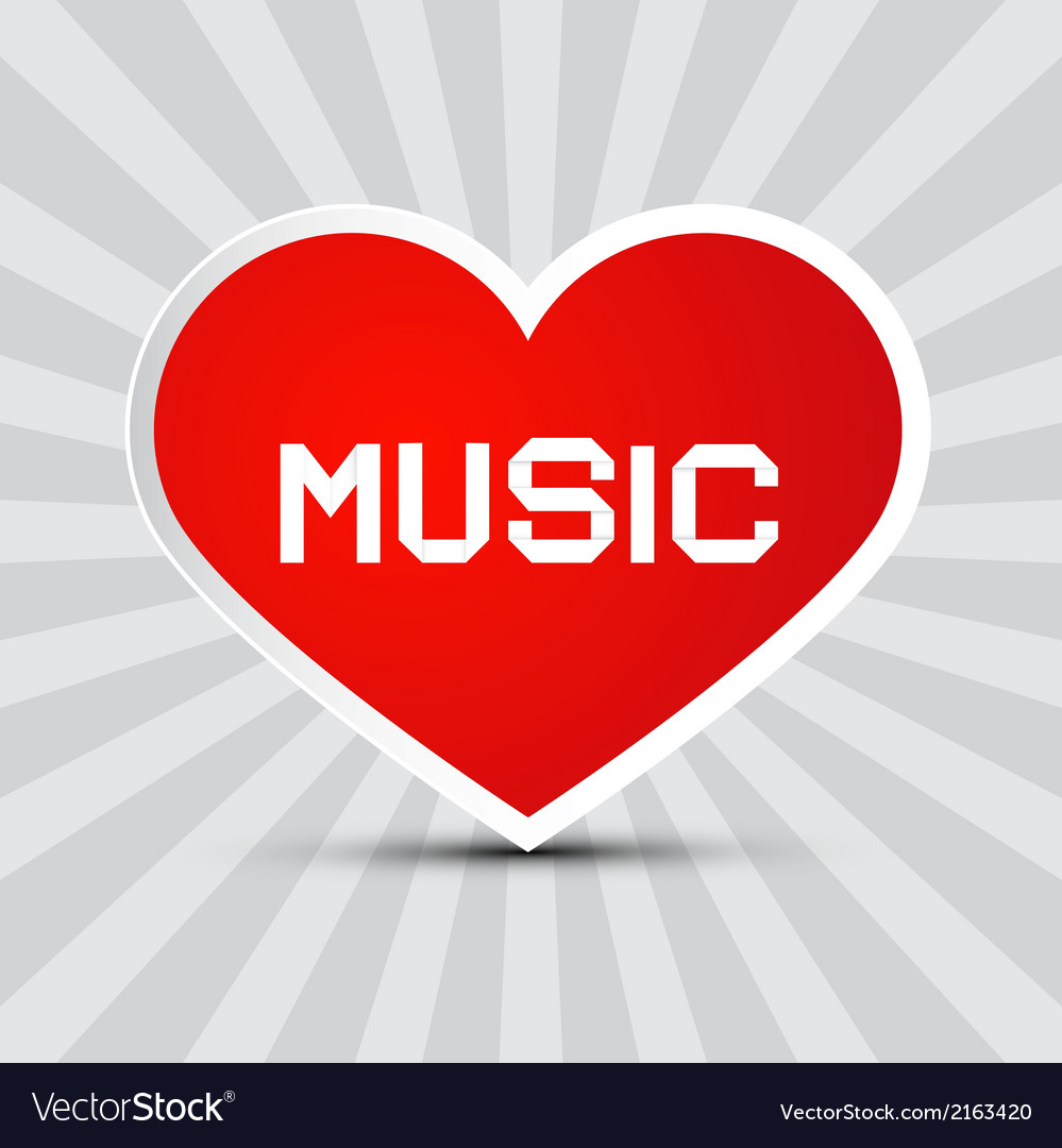 Love music theme with red paper heart on retro vector | Price: 1 Credit (USD $1)