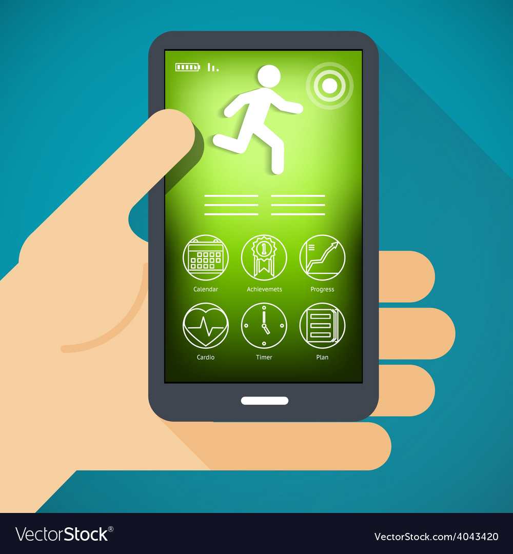 Mobile phone with fitness app in hand vector | Price: 1 Credit (USD $1)