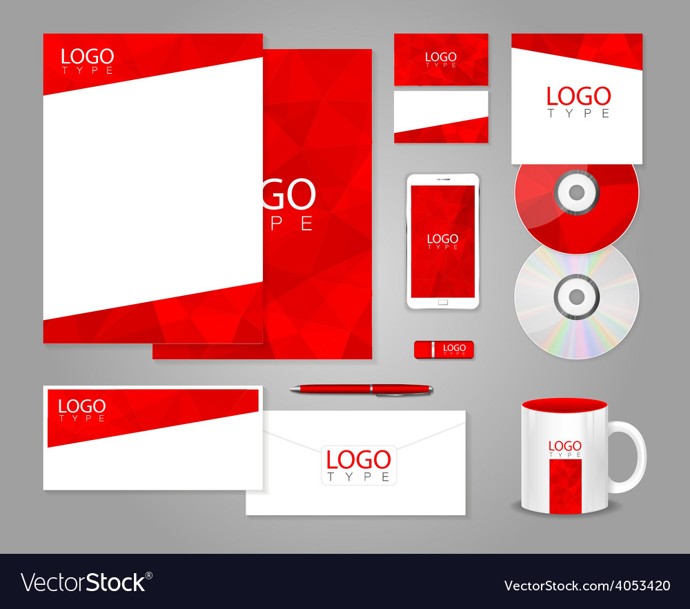 Red corporate identity template vector | Price: 1 Credit (USD $1)