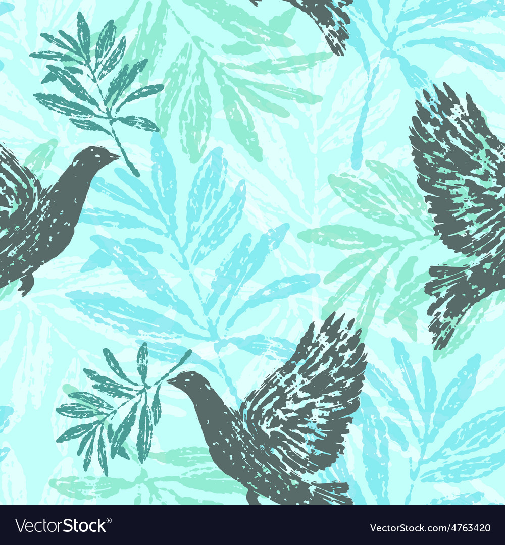 Seamless pattern with olive branches and pigeons vector | Price: 1 Credit (USD $1)