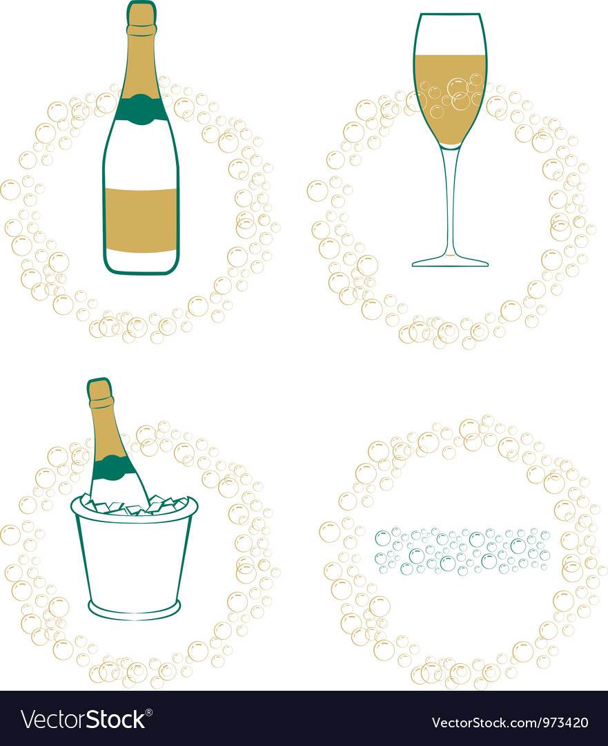 The wineglass bottle of wine in ice bucket vector | Price: 1 Credit (USD $1)