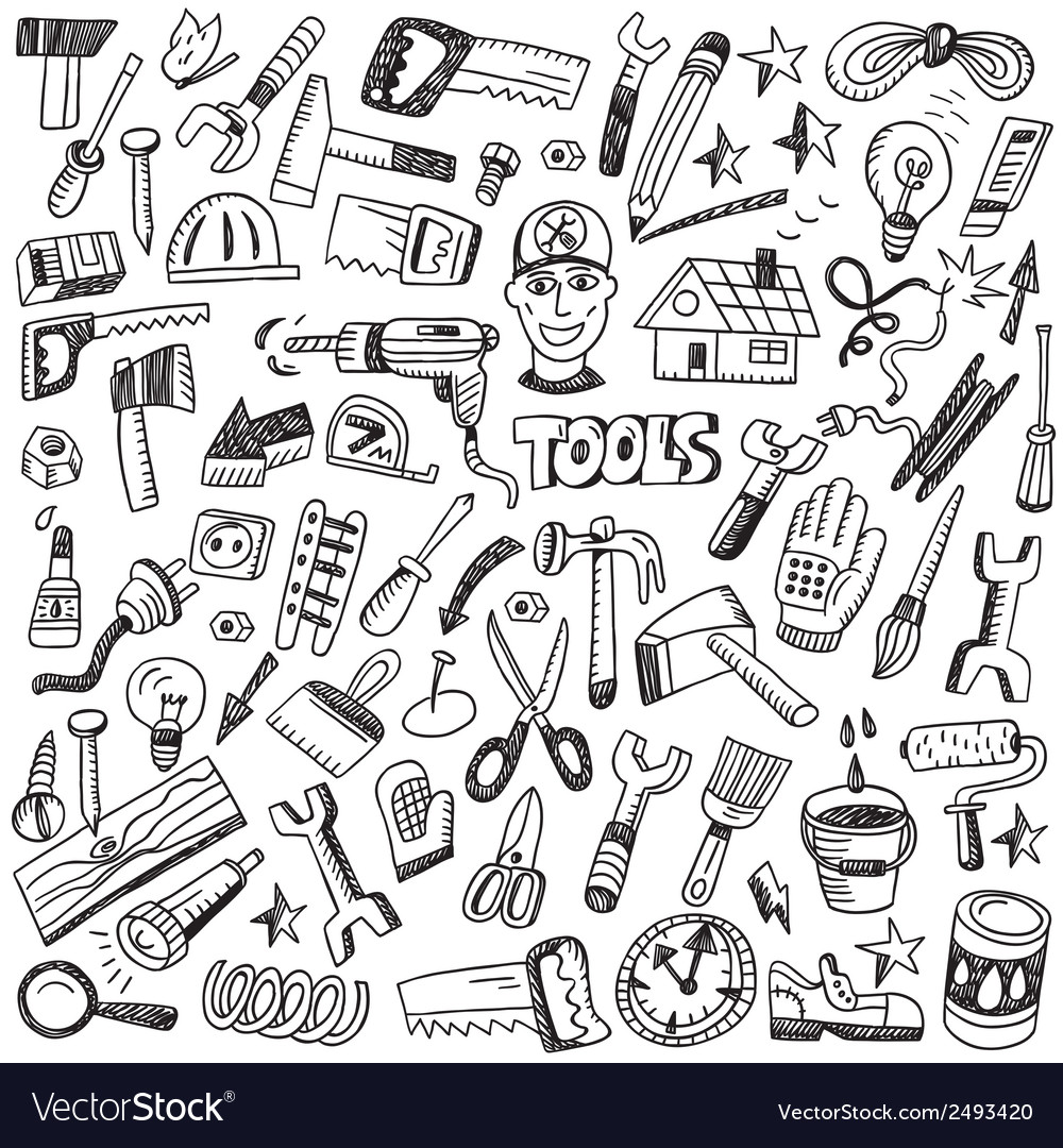 Working tools - doodles set vector | Price: 1 Credit (USD $1)