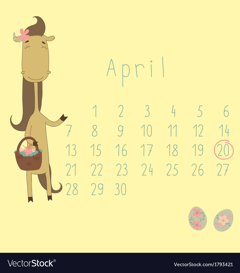 Calendar for april 2014 vector | Price: 1 Credit (USD $1)