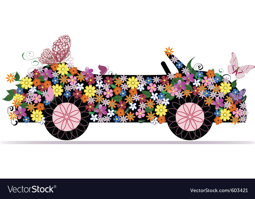 Convertible from flowers and butterfly vector | Price: 1 Credit (USD $1)