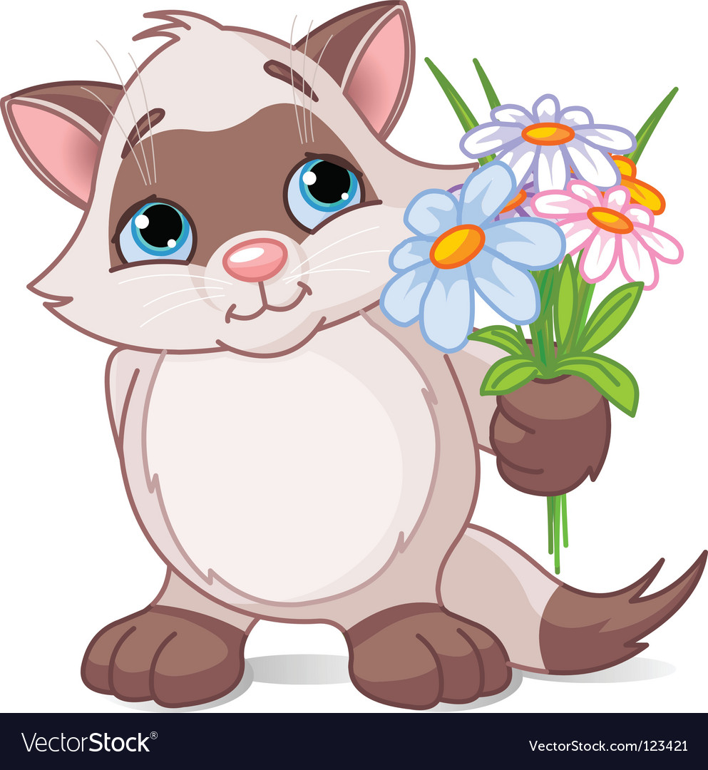 Cute kitten with flowers vector | Price: 1 Credit (USD $1)