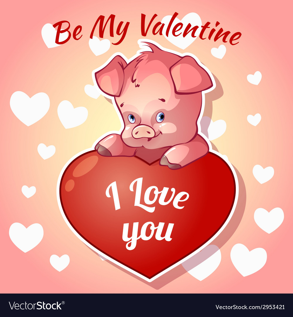 Cute piggy for valentines day vector | Price: 1 Credit (USD $1)