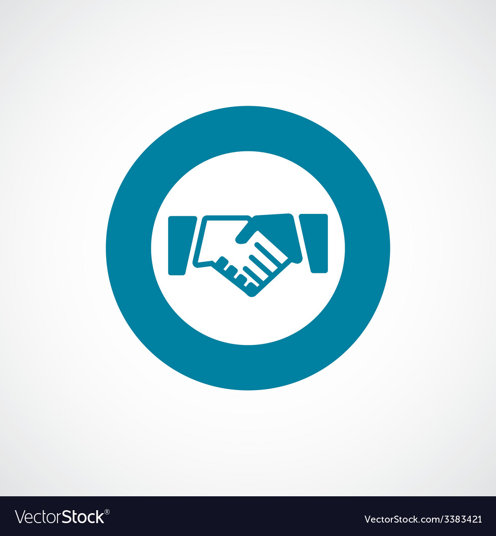 Handshake bold blue border circle icon vector | Price: 1 Credit (USD $1)