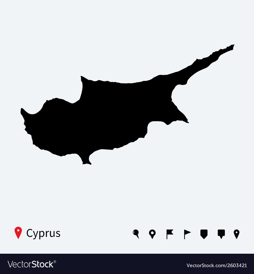 High detailed map of cyprus with navigation pins vector | Price: 1 Credit (USD $1)