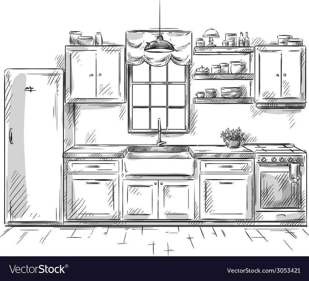 Kitchen interior drawing vector | Price: 1 Credit (USD $1)