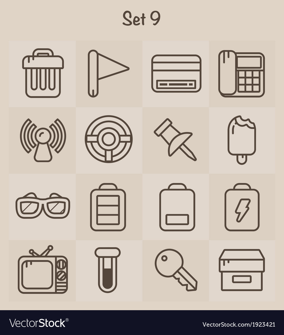 Outline icons set 9 vector | Price: 1 Credit (USD $1)
