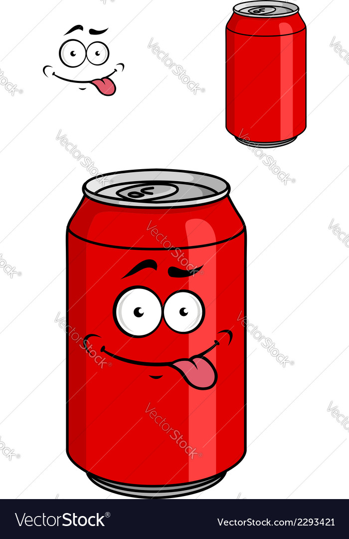 Red soda can with a goofy comical look vector | Price: 1 Credit (USD $1)