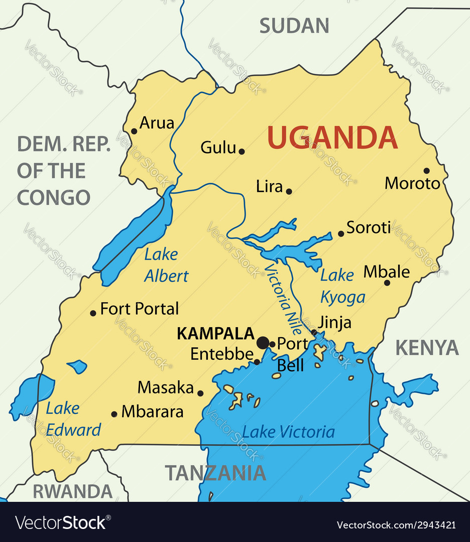 Republic of uganda - map vector | Price: 1 Credit (USD $1)