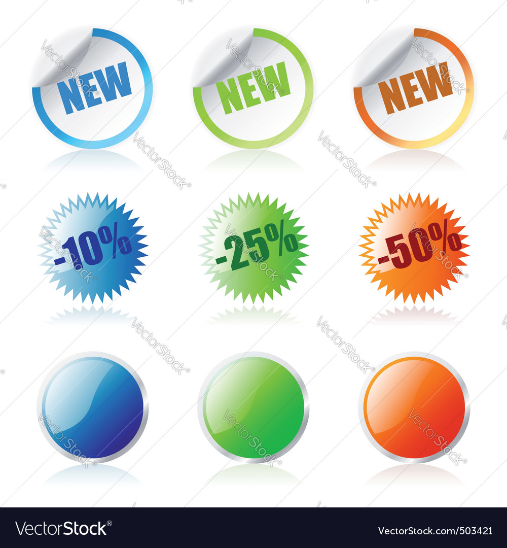 Round stickers vector | Price: 1 Credit (USD $1)