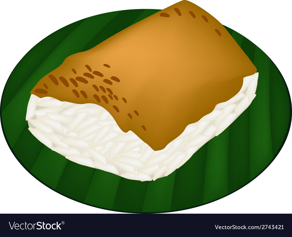 Sticky rice with steamed custard on banana leaf vector | Price: 1 Credit (USD $1)