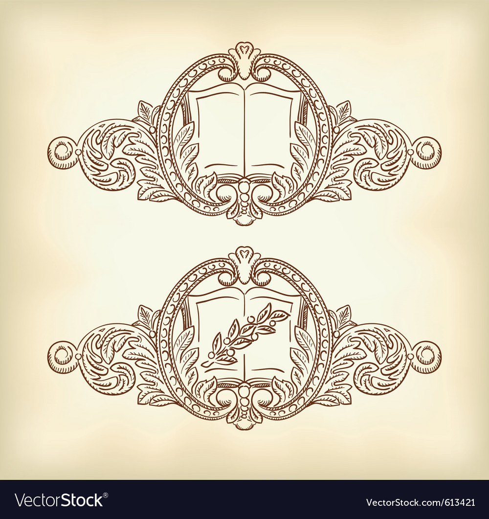 Vintage decor with an open book and a laurel branc vector | Price: 1 Credit (USD $1)