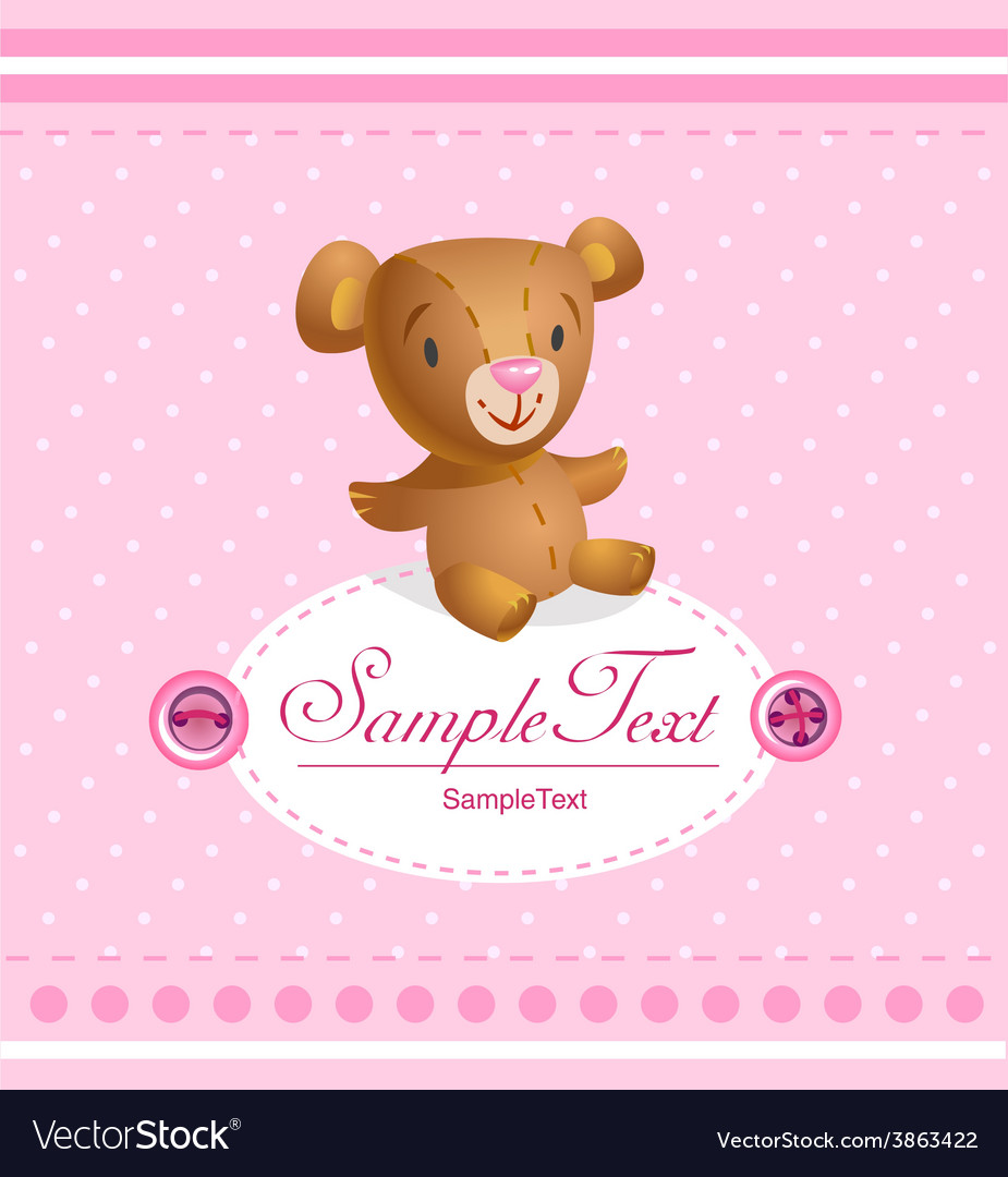 Baby arrival card for baby girl vector | Price: 1 Credit (USD $1)