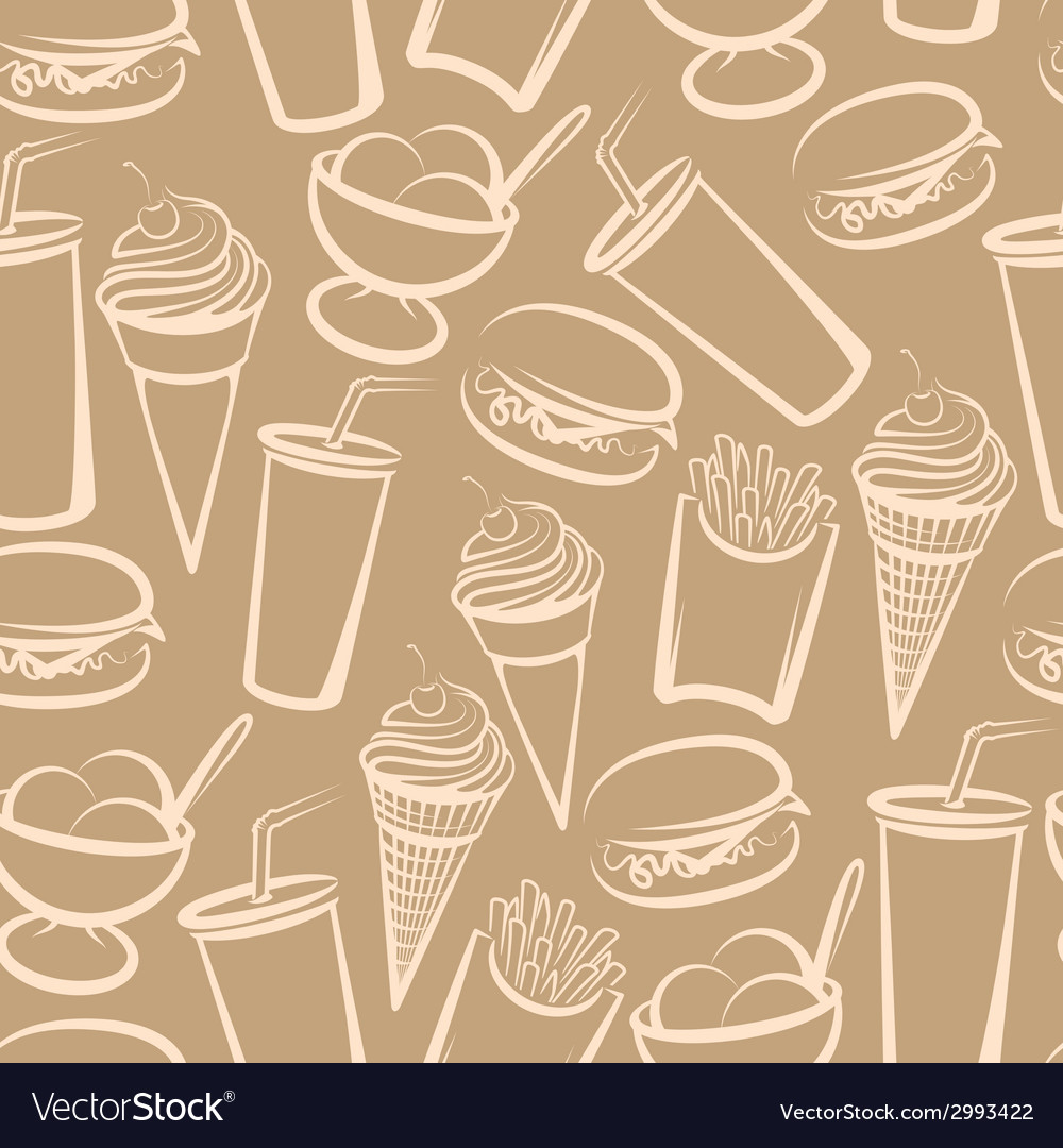 Background with fast food seamless pattern vector | Price: 1 Credit (USD $1)