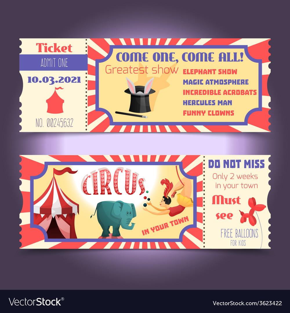 Circus retro tickets vector | Price: 1 Credit (USD $1)