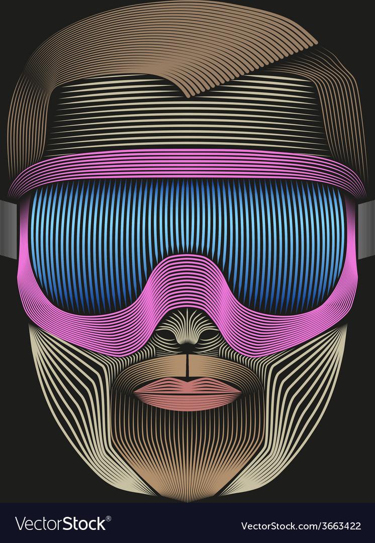 Creative retro artwork of symbol skier or vector | Price: 1 Credit (USD $1)