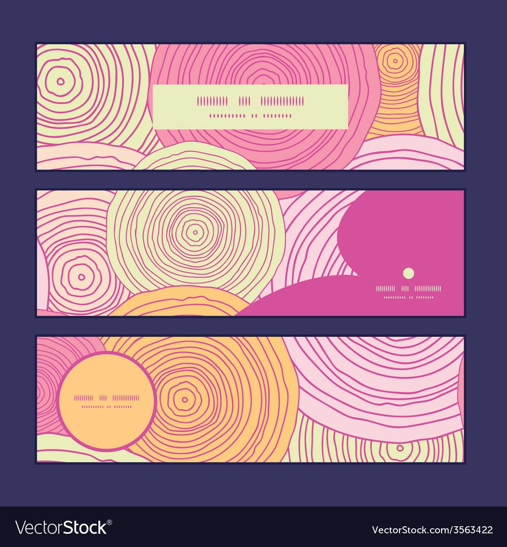 Doodle circle texture horizontal banners set vector | Price: 1 Credit (USD $1)