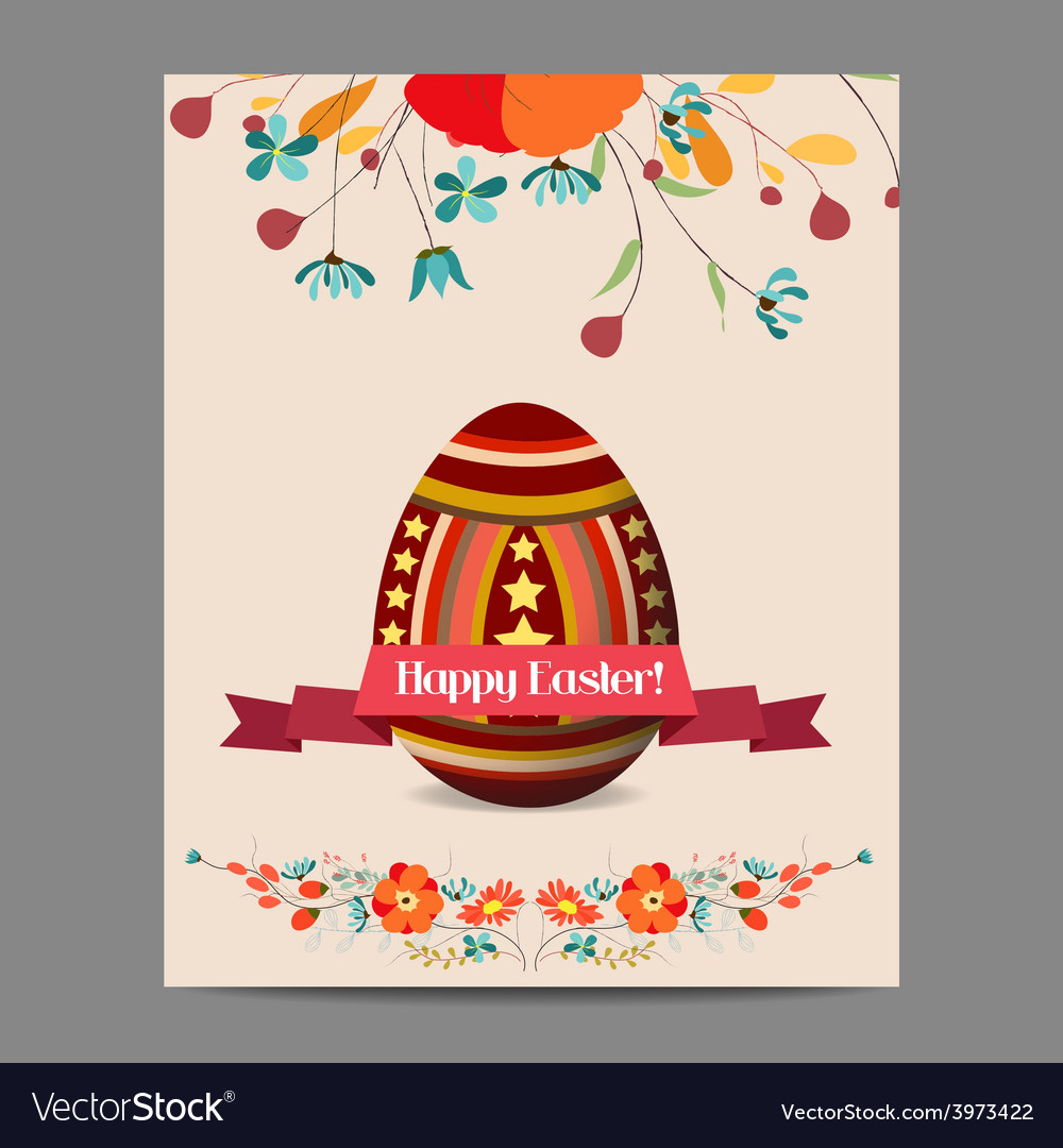 Easter egg invitation card with label and floral vector | Price: 1 Credit (USD $1)