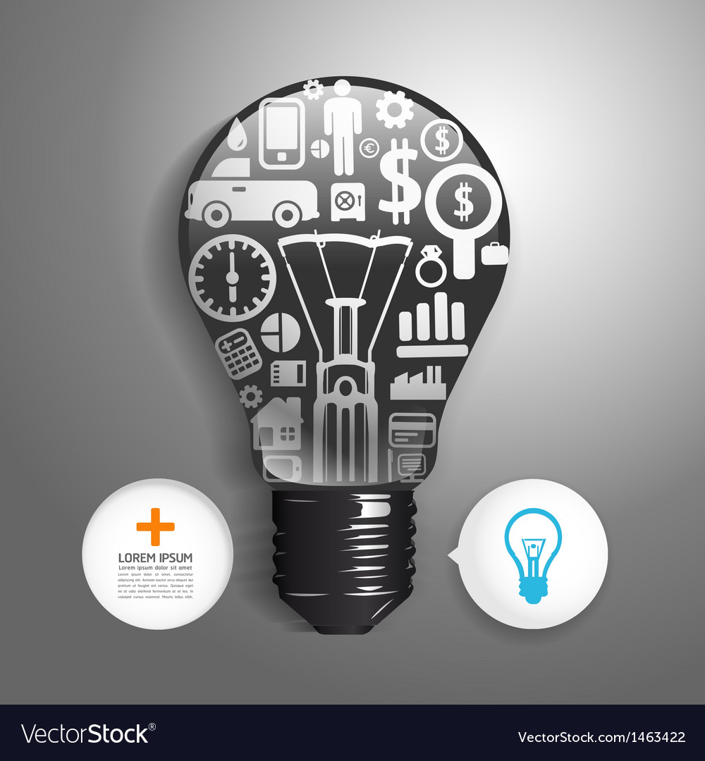 Elements are small icons finance make light bulb vector | Price: 1 Credit (USD $1)