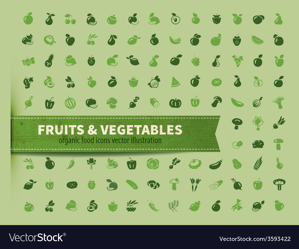 Food fruit and vegetables icon set vector | Price: 1 Credit (USD $1)