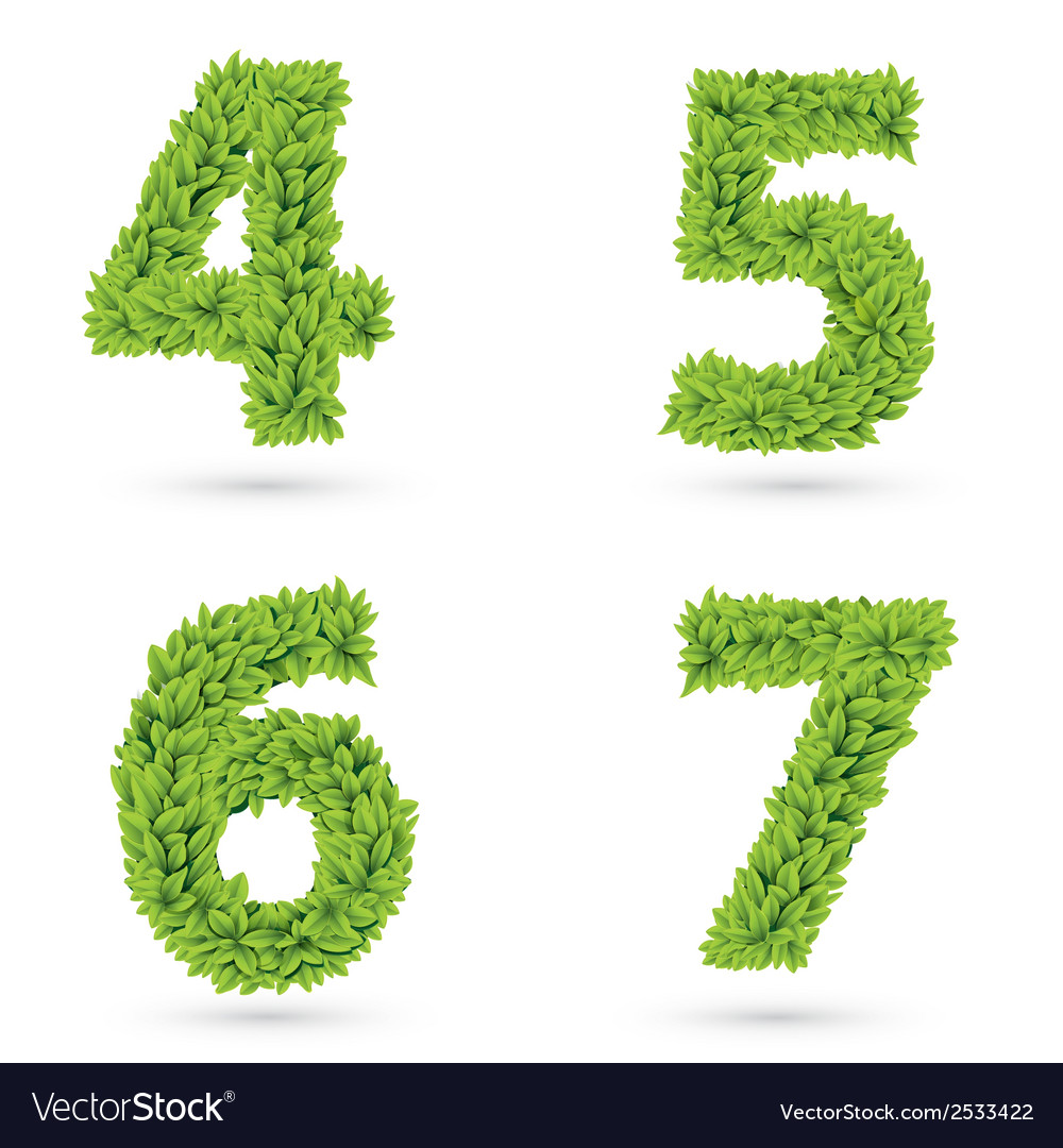 Numbers of green leaves collection vector | Price: 1 Credit (USD $1)