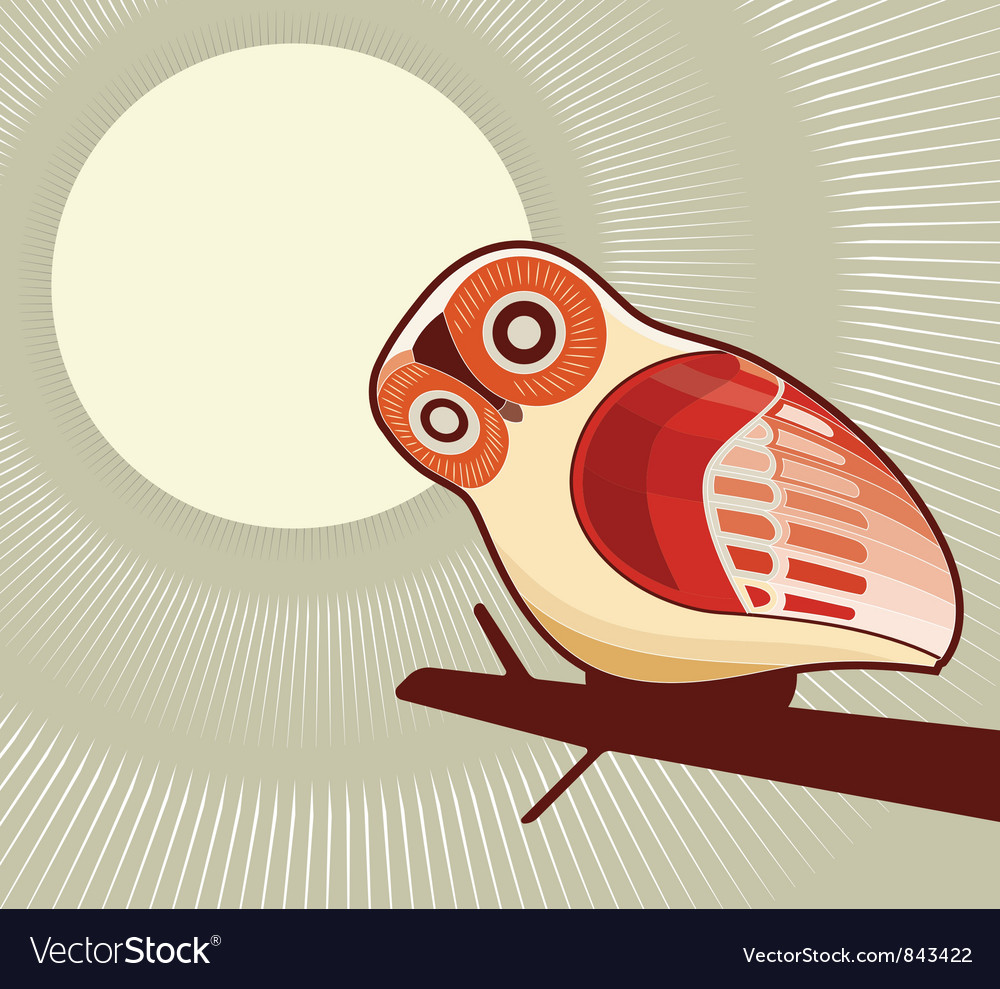 Owl and moonlight vector | Price: 1 Credit (USD $1)