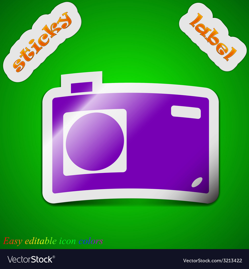 Photo camera icon sign symbol chic colored sticky vector | Price: 1 Credit (USD $1)