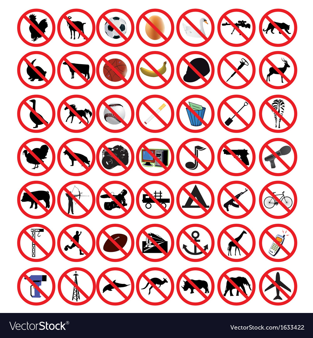 Prohibited signs vector | Price: 1 Credit (USD $1)