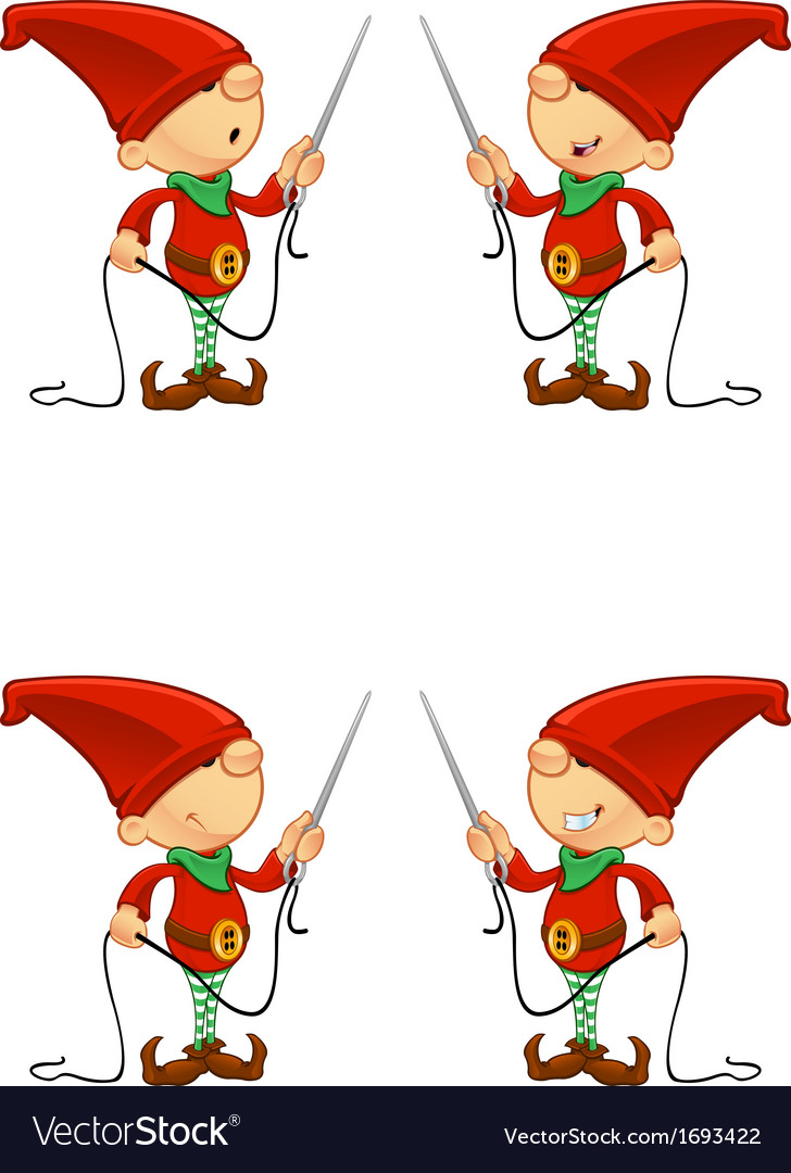 Red elf needle thread vector | Price: 1 Credit (USD $1)