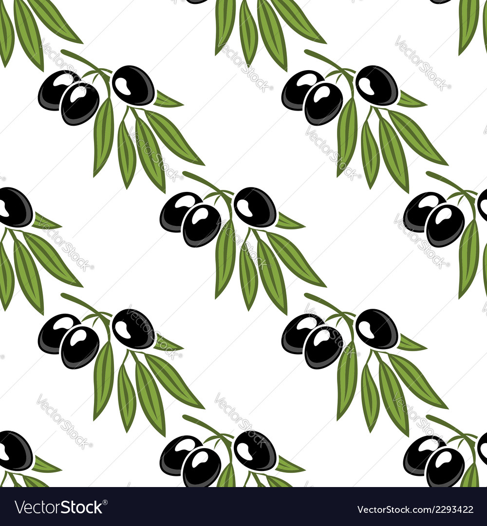 Seamless pattern of a leafy olive branch vector | Price: 1 Credit (USD $1)