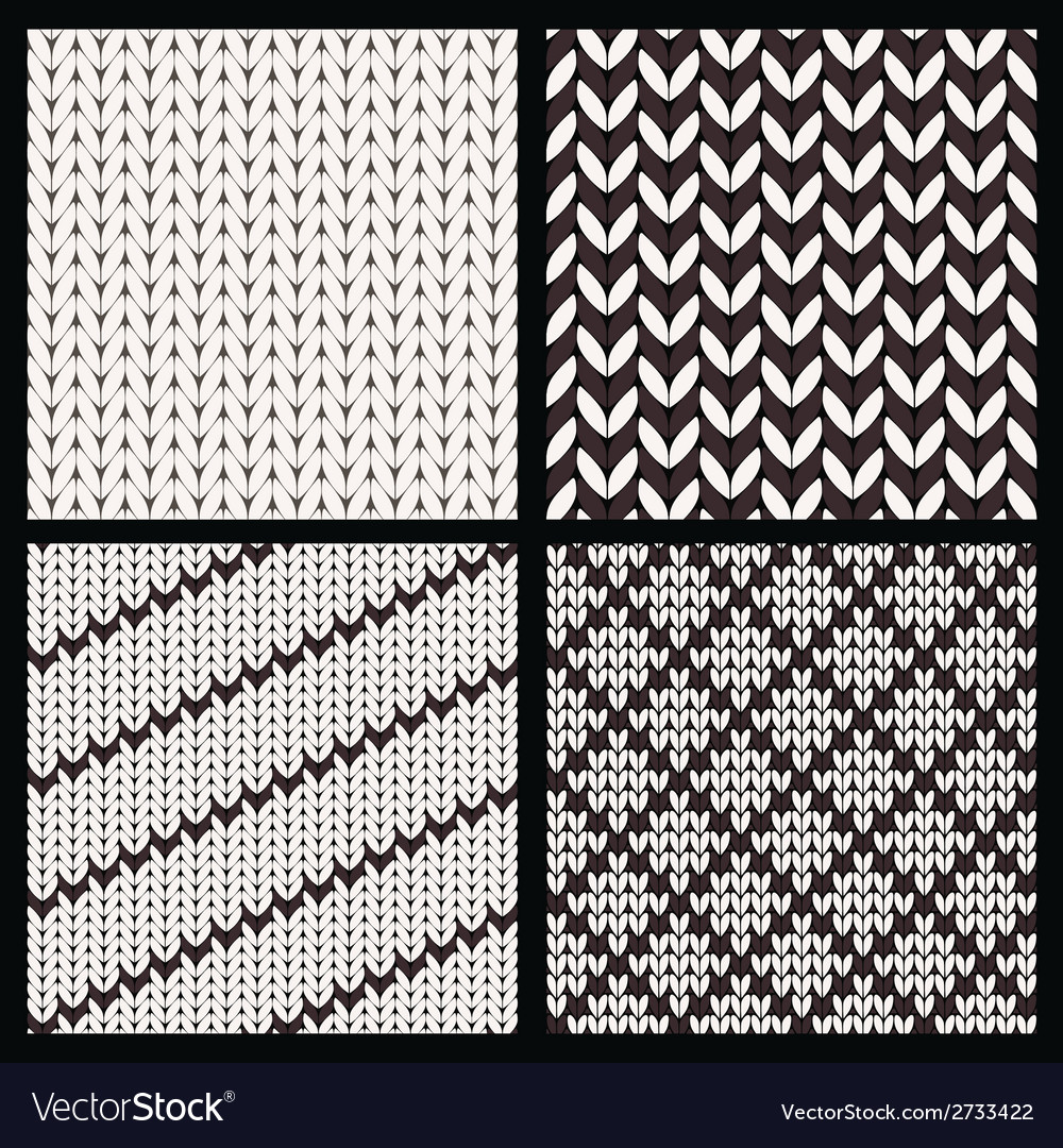 Set of four seamless knitting patterns vector | Price: 1 Credit (USD $1)