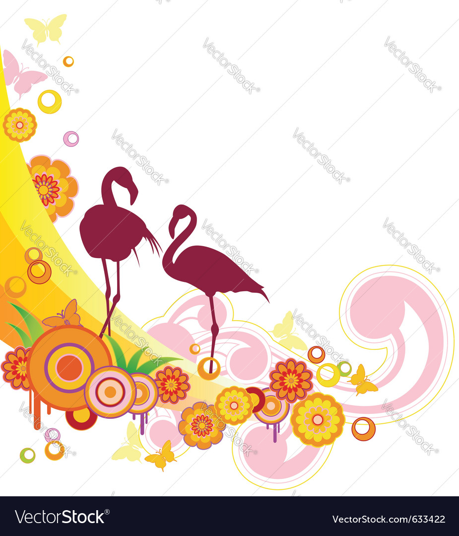 Summer background with flamingo and flowers vector | Price: 1 Credit (USD $1)