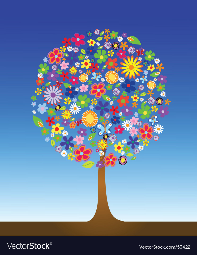 Tree with flowers vector | Price: 1 Credit (USD $1)