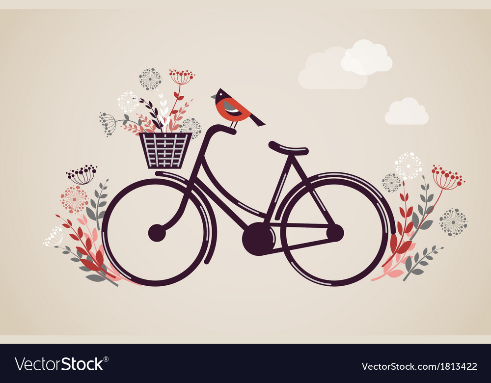 Vintage retro bicycle background vector | Price: 1 Credit (USD $1)