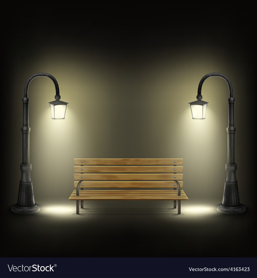 Bench illuminated by street lamps vector | Price: 3 Credit (USD $3)