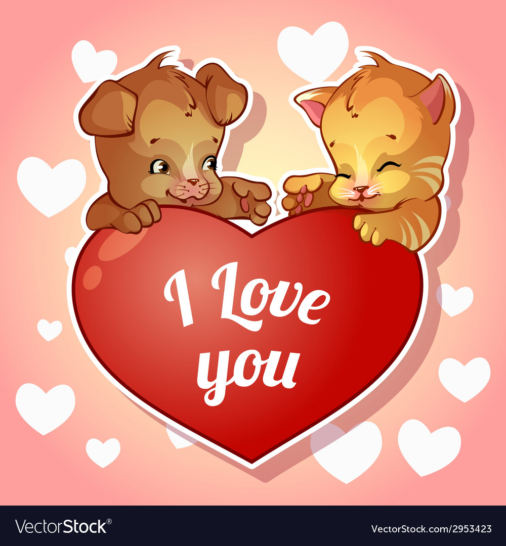 Cute puppy and kitten with hearts for valentines vector | Price: 1 Credit (USD $1)