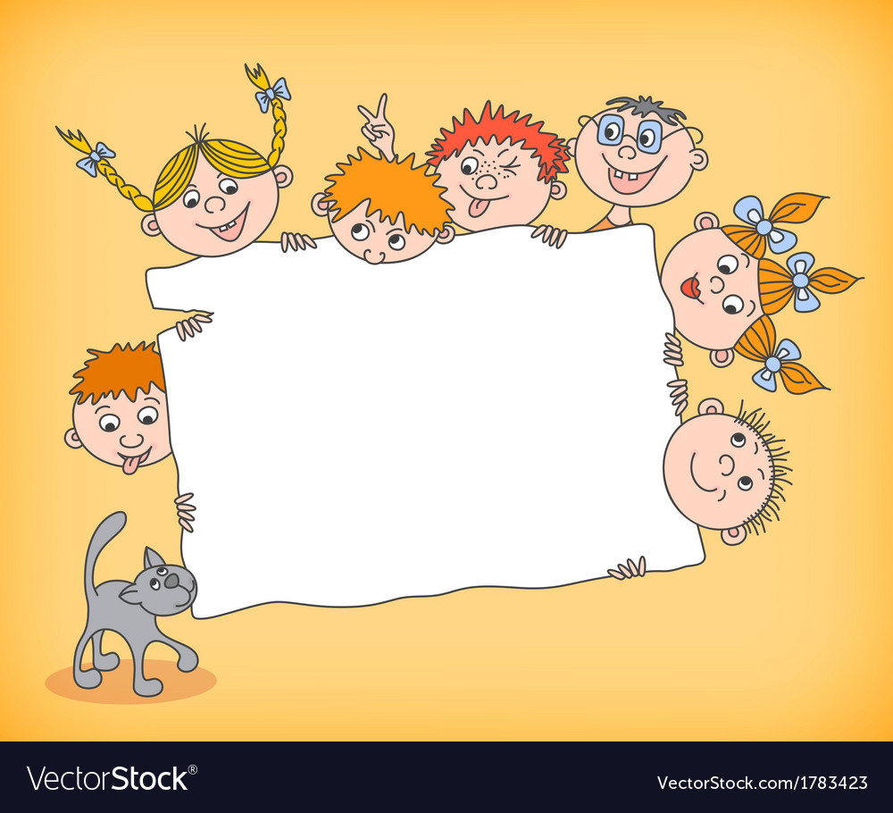 Doodle kids holding blank sign vector | Price: 1 Credit (USD $1)