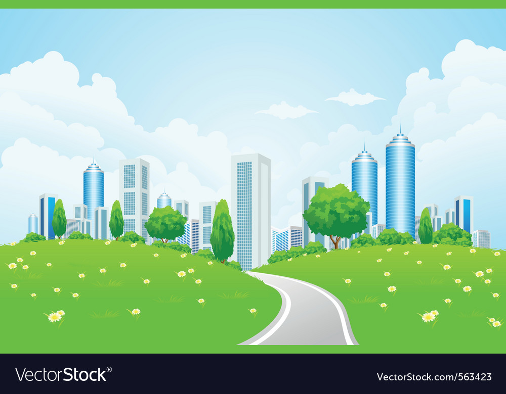 Eco modern city vector | Price: 1 Credit (USD $1)