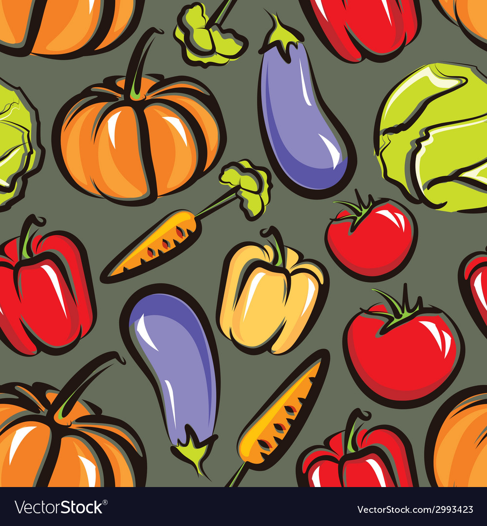 Food background with vegetables seamless pattern vector | Price: 1 Credit (USD $1)