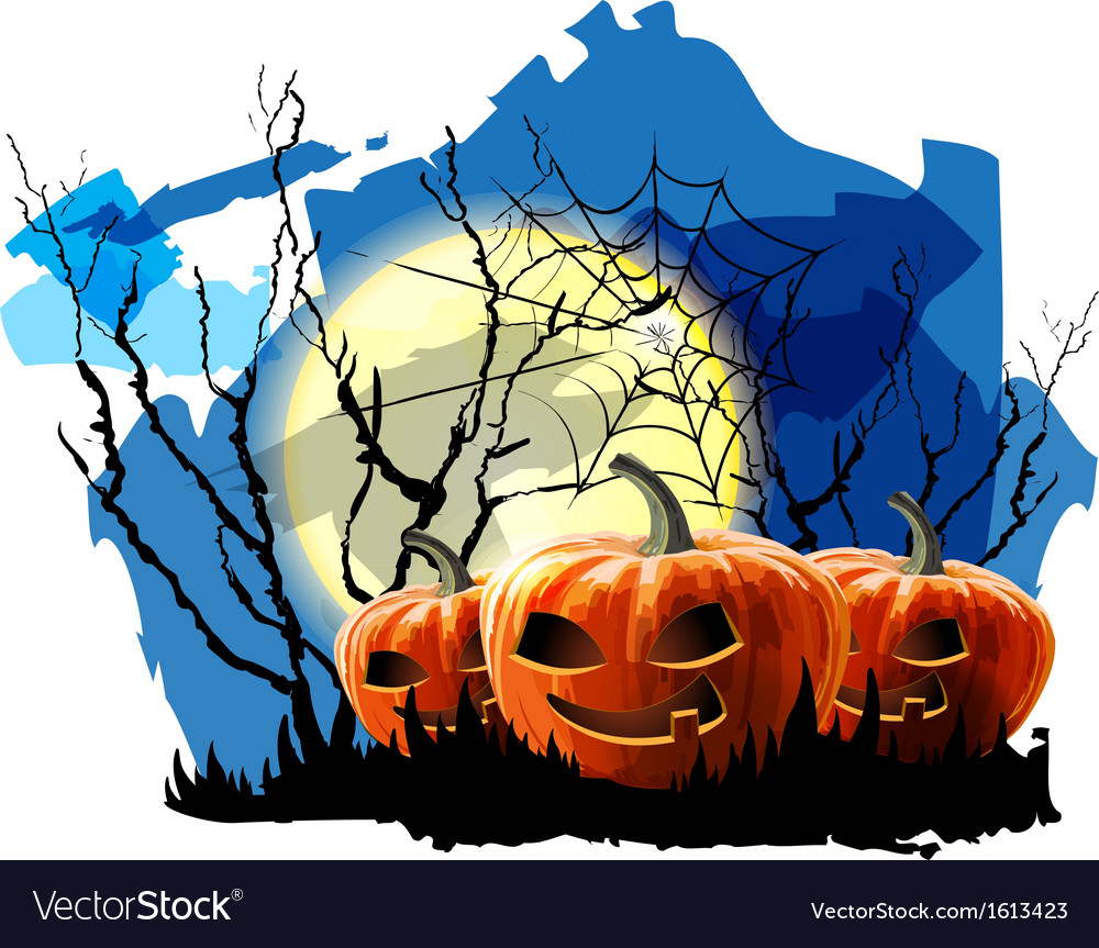 Halloween party background with pumpkin vector | Price: 1 Credit (USD $1)