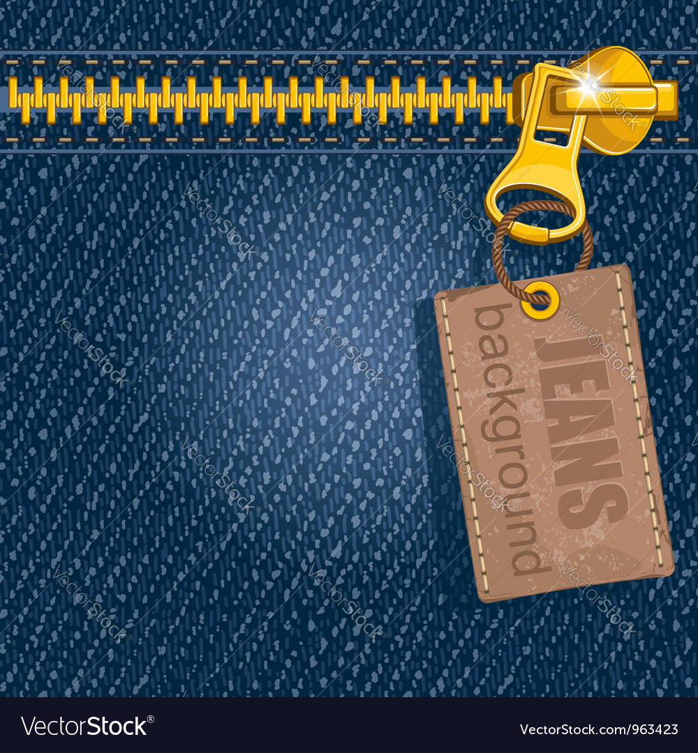Metal zipper on denim background vector | Price: 1 Credit (USD $1)