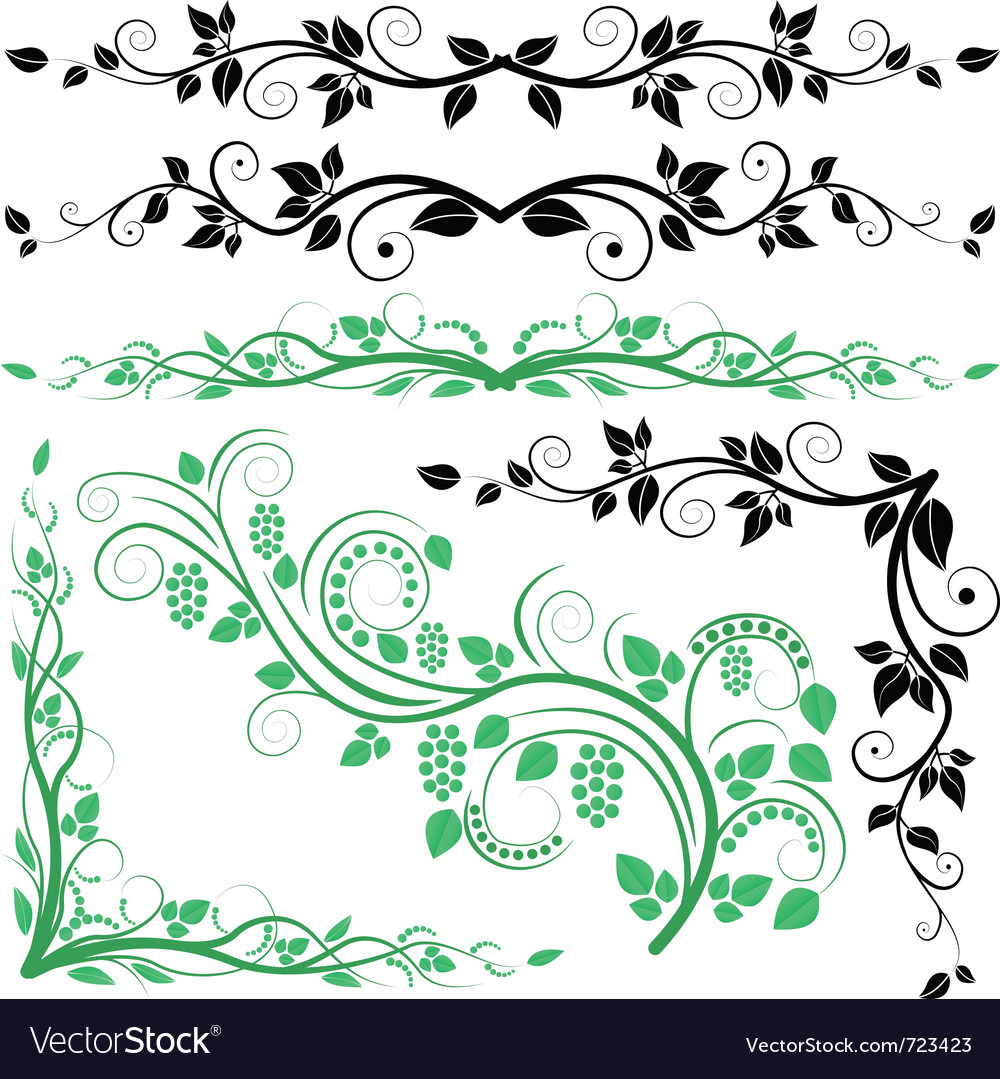 Plant decoration and corners vector | Price: 1 Credit (USD $1)