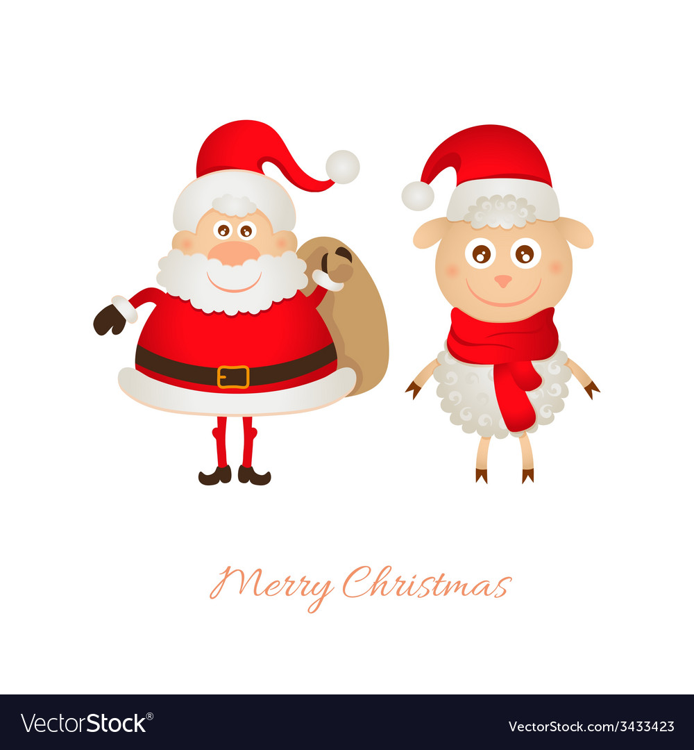 Santa claus with a bag of gifts and sheep vector | Price: 1 Credit (USD $1)