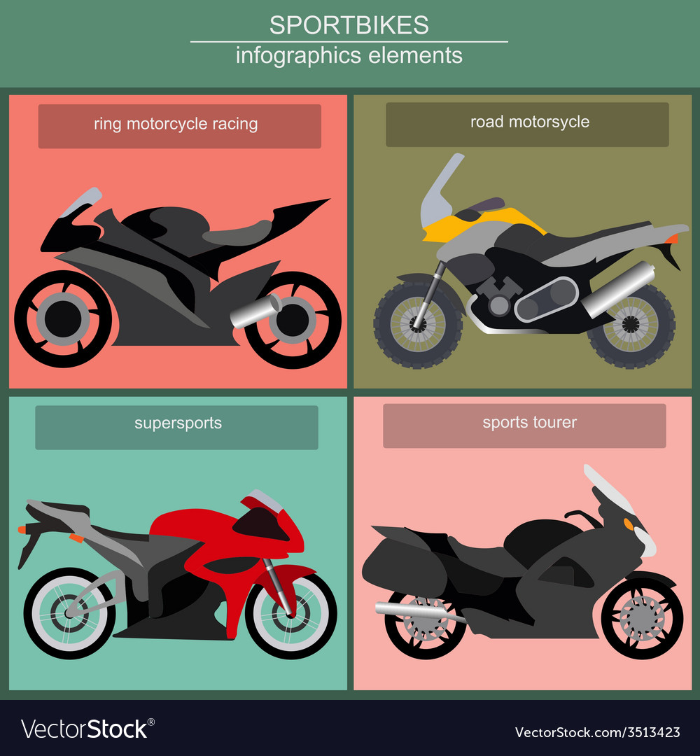 Set of elements sportbikes for creating your own vector | Price: 1 Credit (USD $1)