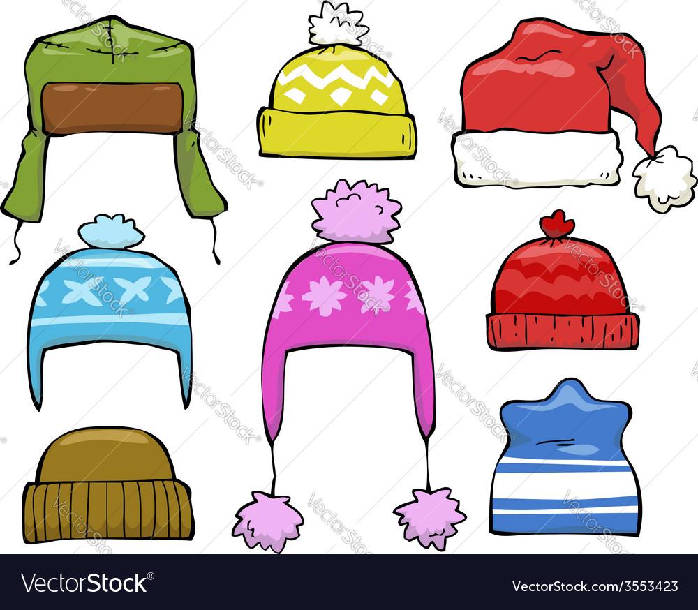 Set of winter hats vector