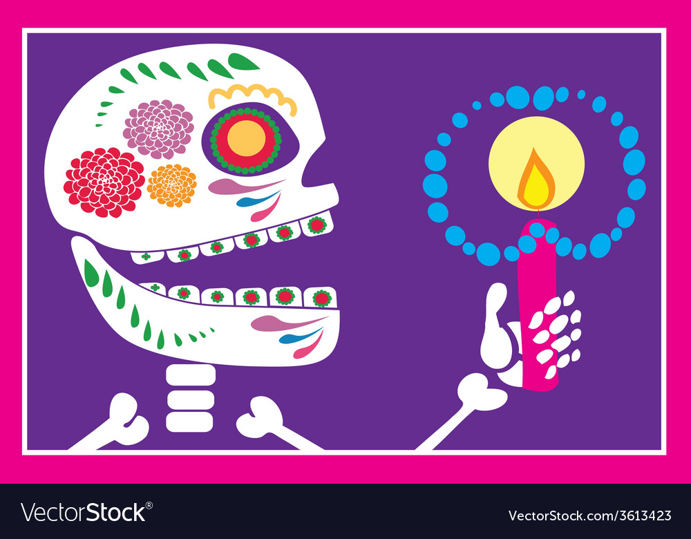 Skull of sugar with candle vector | Price: 1 Credit (USD $1)